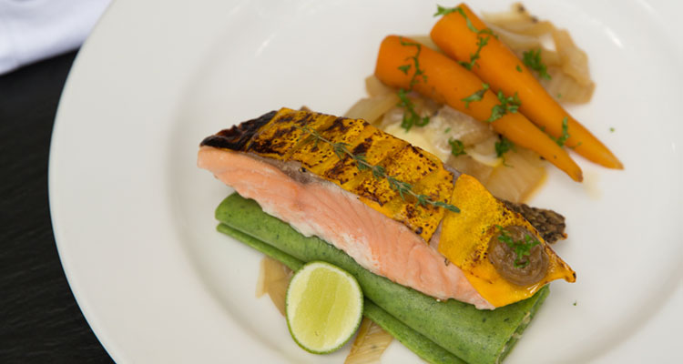 This delicious salmon dish is one of the mains served during the yoga retreats at Oneworld Retrats in Ubud, Bali.