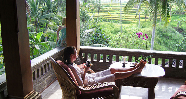 All our rooms come with a terrace or balcony, yours to enjoy during your yoga retreat at Oneworld Retreats in Ubud, Bali.