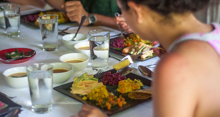 During your yoga retreat at Oneworld Retreats, the meals are served in the jungle dining room.